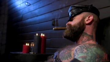 Chance Summerlin - Muscular Leather Daddy Smokes Cigars and Brutally Fucks Submissive Boy
