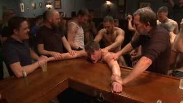 Dakota Wolfe - Foot sucking whore humiliated and gang fucked in a bar full of horny men