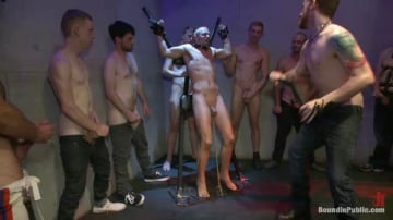 Dayton O'Connor - Horny crowd gang bangs a young stud at the playspace of Mr S Leather