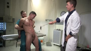 JJ Knight - Patient and Nurse Battered and Ass Fucked by Sadistic Doctor and His 10 inch Cock