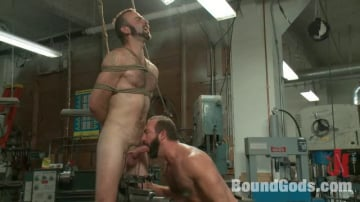 Josh West - Motor oil bondage fuck in the metal shop