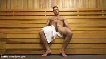 Alex Mecum in 'Muscled hunk machine fucks his ass and shoots all over the sauna floor'