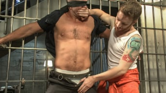 Andrew Justice in 'Officer Justice taken down and his giant cock edged by two perverts'