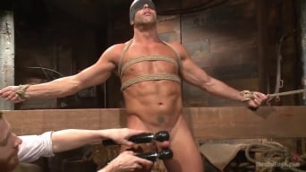 Coby Mitchell in 'Hot cowboy tied up for the first time and shoots a load onto his face!'