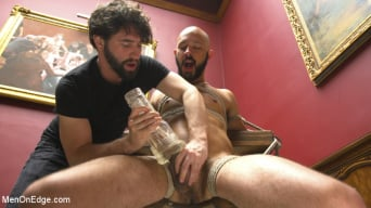 Dylan Strokes in '9 in cock edged in mid-air and has the cum drained from his aching balls'