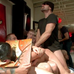 Eli Hunter in 'Kink Men' Horny crowd mercilessly gang fucks a bound hung stud against his will (Thumbnail 7)