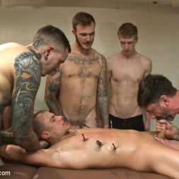 Eli Hunter in 'Kink Men' Horny crowd mercilessly gang fucks a bound hung stud against his will (Thumbnail 12)