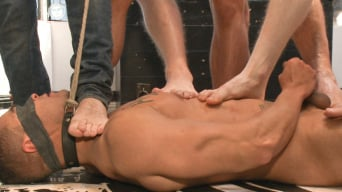 Jessie Colter in 'Ripped, muscled stud gang fucked by horny dudes and smothered with feet'