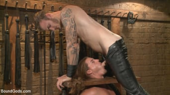 Kip Johnson in 'Guy next door held in a stock, facefucked and flogged'