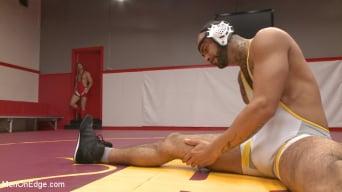 Rikk York in 'gets slammed to the mat and edged'